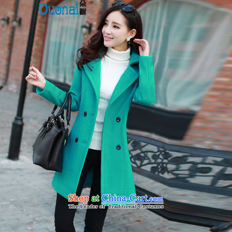 2015 Fall_Winter Collections Korean citizenry Stylish coat Sau San simple Western business suits in long-sleeved long double-gross green?L female coat?