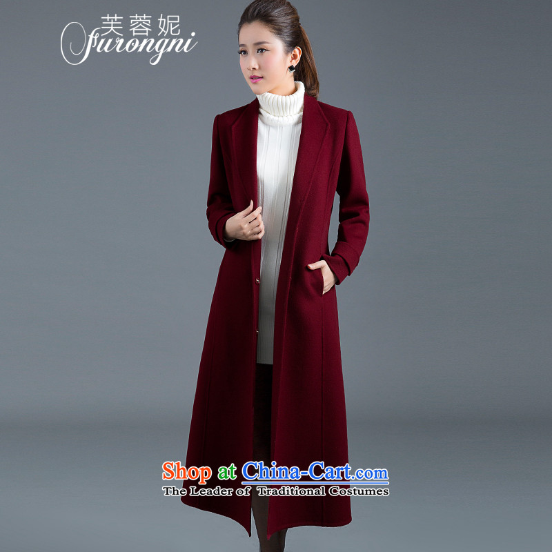 Hibiscus Connie 2015 autumn and winter new ultra high-end double-side cashmere overcoat female long thin wool is video Sau San jacket female gross D0313 wine red cloak?燣