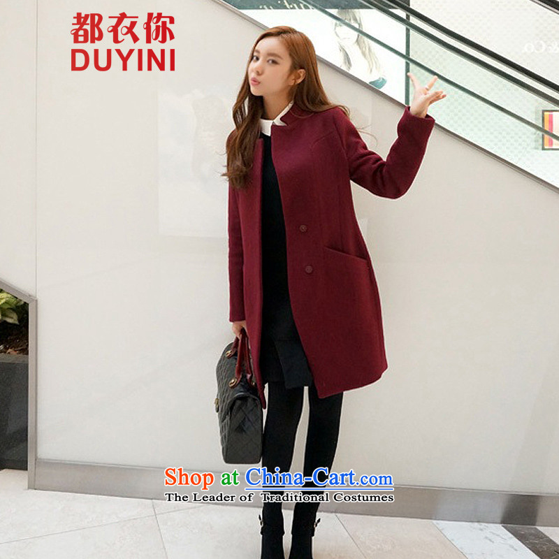 Are you yi 2015 autumn and winter new larger version in Korea Sau San long wool coat jacket female DYN802? wine redM