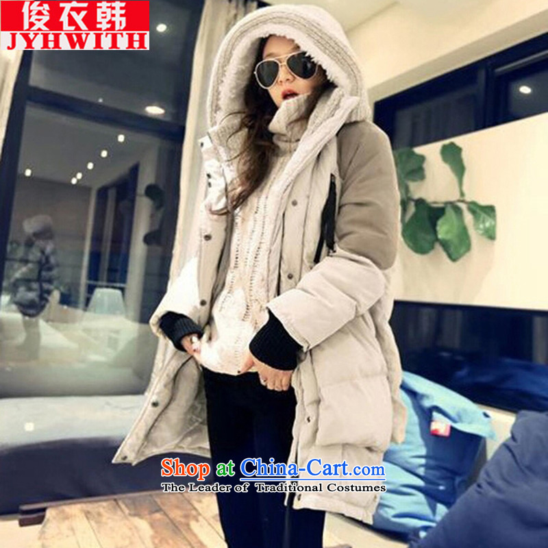 Mr James TIEN yi won down women in large long thick girls' Graphics thin, Choo 200catty thick sister larger female winter coats girl down to intensify the beige?XXXL suitable for 175 to 190 catties of Fat Fat