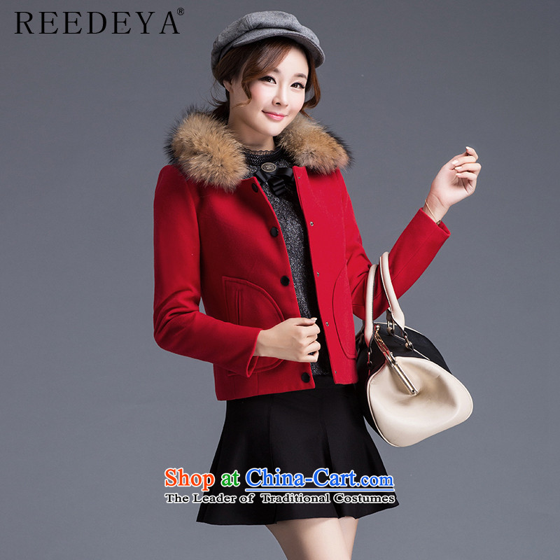 Avandia Rui REEDEYA 2015 autumn and winter Korean female jacket is   Gross graphics with thin for single row detained short of female red cloak?L folder unit_