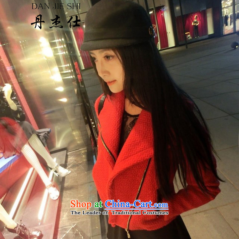 Dan Jie Shi聽2015 autumn and winter new Korean gross wool jacket Ms.?   Leisure cashmere a wool coat small jacket Y01 RED聽S