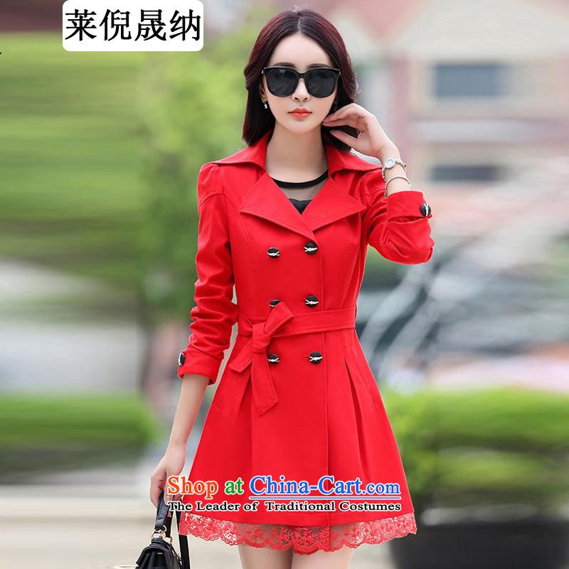 Mr NGAI Shiu-shing, Blair autumn 2015 new larger female lace edges in Long Hoodie female jacket Sau San large red燲XXL