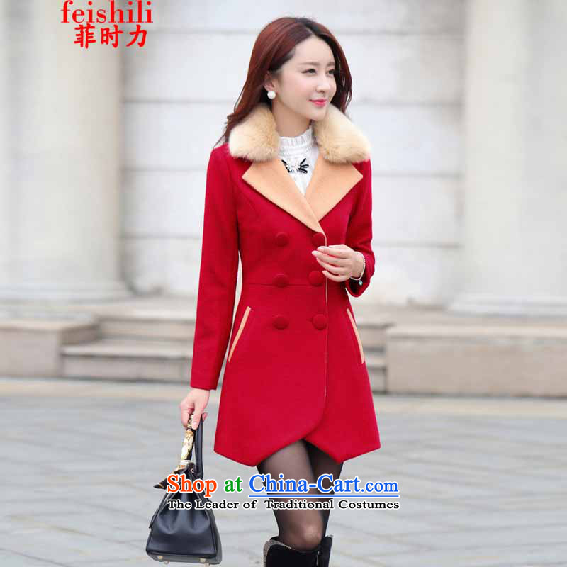 The Philippines,聽2015 Fall_Winter Collections new Korean cloak Gross Gross for Ms. jacket is a sweet large coats of Sau San female red_聽L