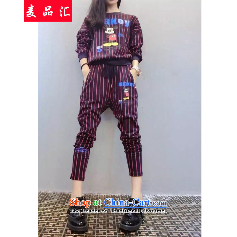 Mak, removals by sinks fall xl female thick MM THIN long-sleeved trousers graphics two kits Korean fashion sweater 200 catties Leisure Sports Suits聽5989聽Plum Purple聽4XL