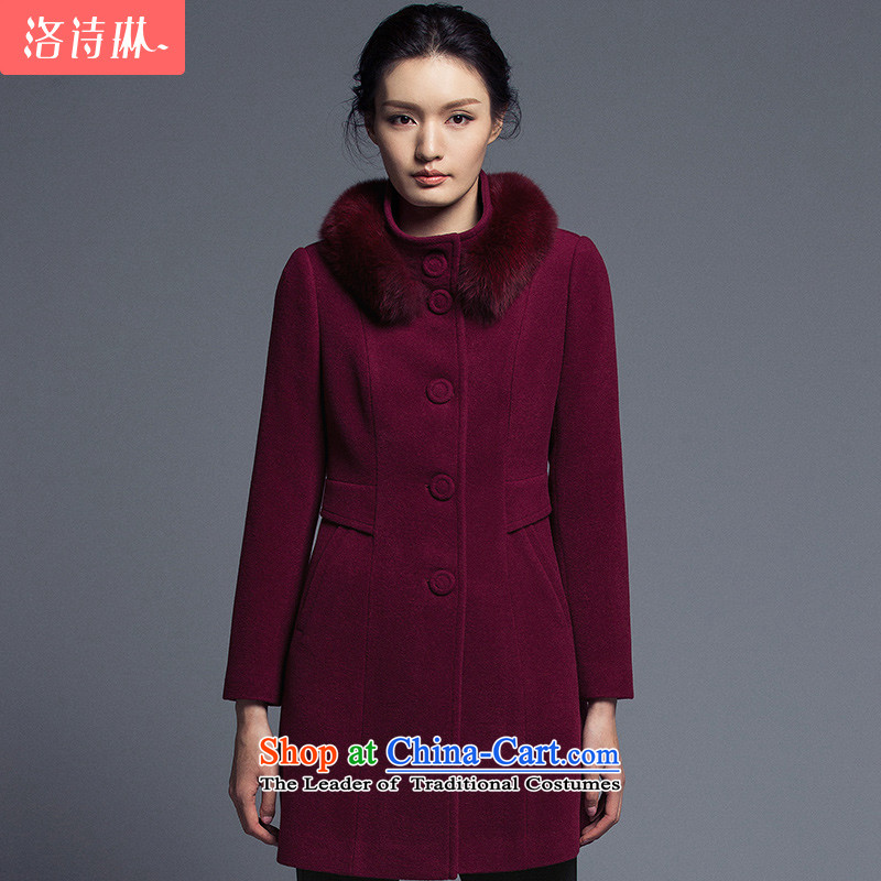 The poem Lin 2015 LUXLEAD winter clothing new products collar long-sleeved single row detained in aristocratic long coats gross? female wine red燲L