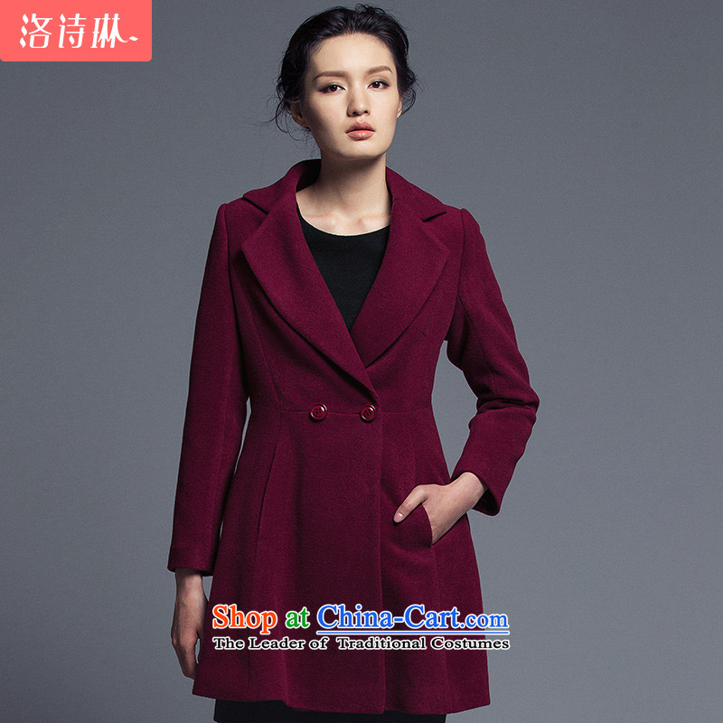 The poem Lin 2015 LUXLEAD winter clothing new flat connection for long-sleeved double-A swing in the long hair? coats wine red XXL