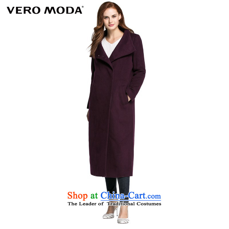 Vero moda solid color fabric crisp winterization high collar minimalist straight length coat |315327027 gross? 014 black purple 160_80A_S