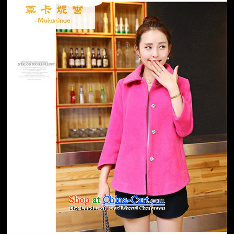 Morcar Connie snow 2015 new autumn and winter coats Korean gross?   Large 7 cuff cashmere a wool coat girl in red燤