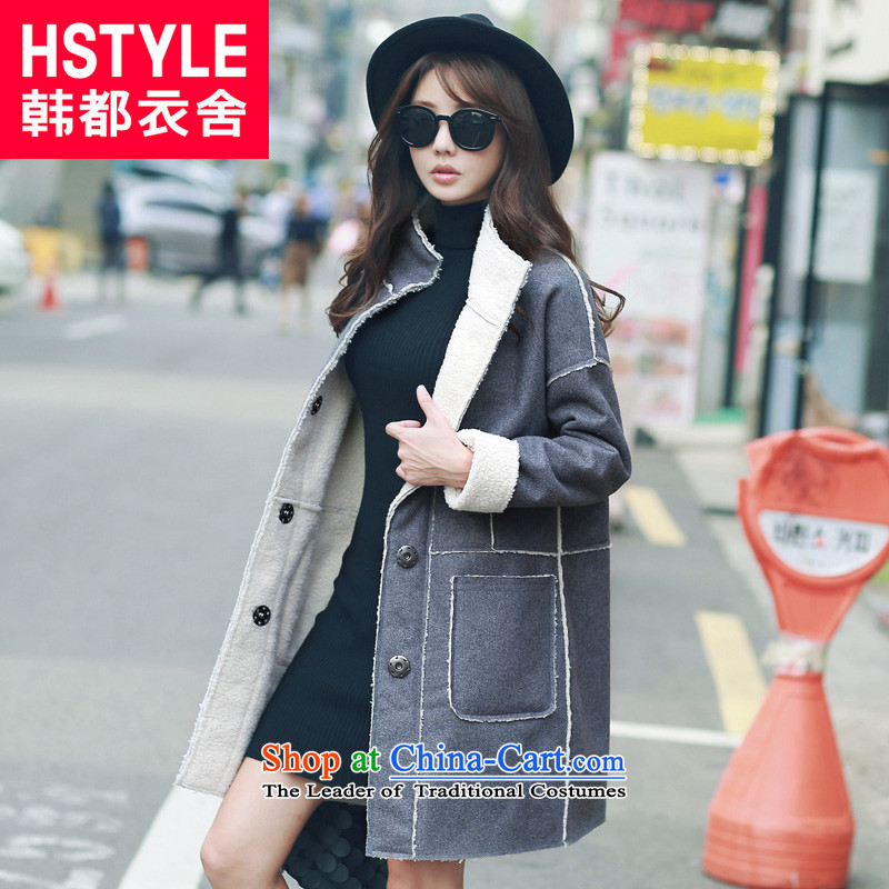 Korea has the Korean version of the Dag Hammarskjöld yi 2015 winter clothing new products with gray youth and pure colors and stylish in the stitching long jacket LD4440 gross? Restaurant Gray L