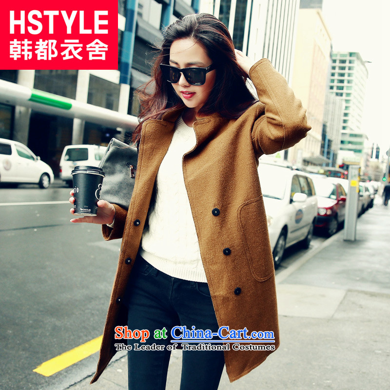 Korea has the Korean version of the Dag Hammarskjöld yi 2015 winter clothing new products in the women's long solid color jacket LU4457?(2) Gross and color L