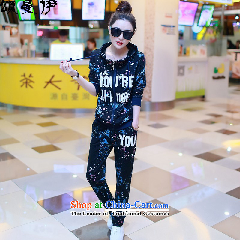 Chung Cayman El聽2015 autumn and winter new MM thick large female plus lint-free sport and leisure thick long-sleeved sweater Kit聽757聽black聽L