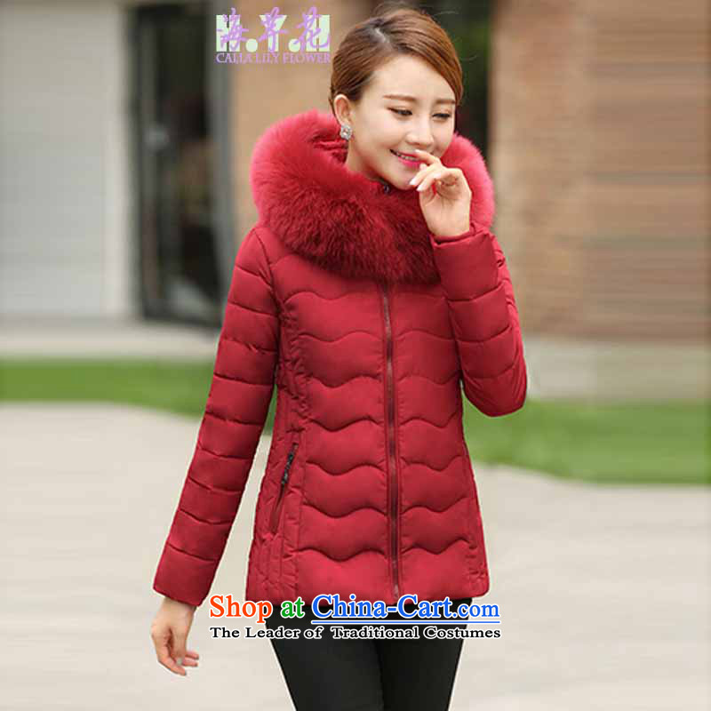 The sea route take the Korean version of gross collar cap loose candy colored winter conventional_ thick warm coat 5A6044 large red�L