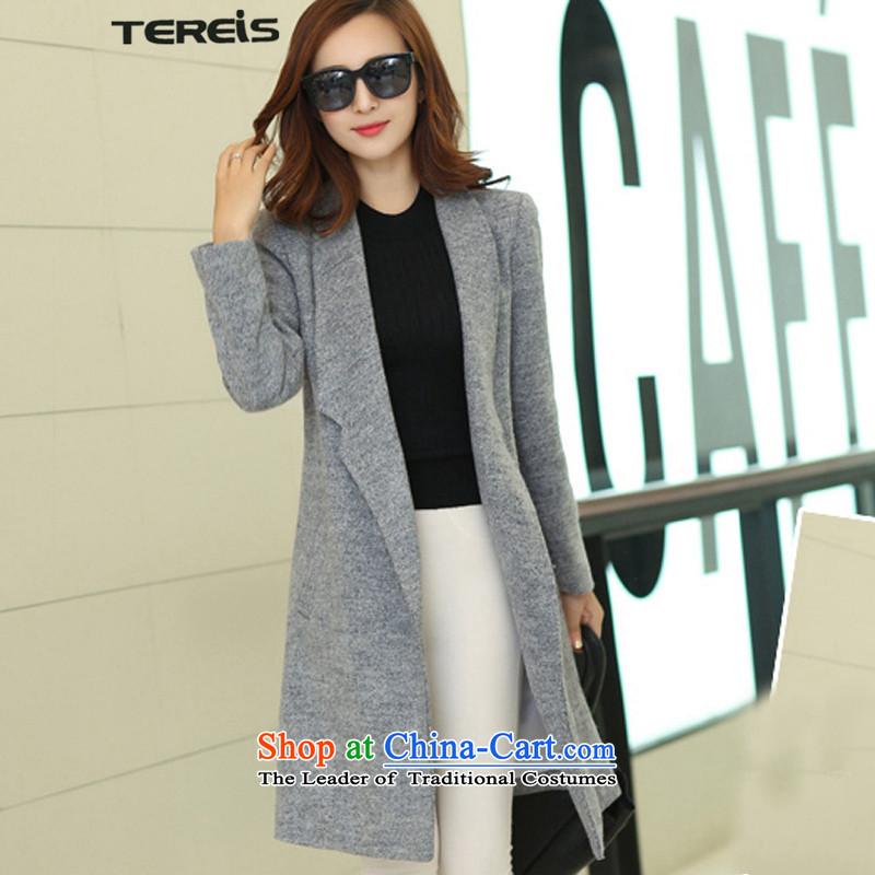 Tereis new women's 2015)? coats female Korean version of the long winter thick grayXXXL
