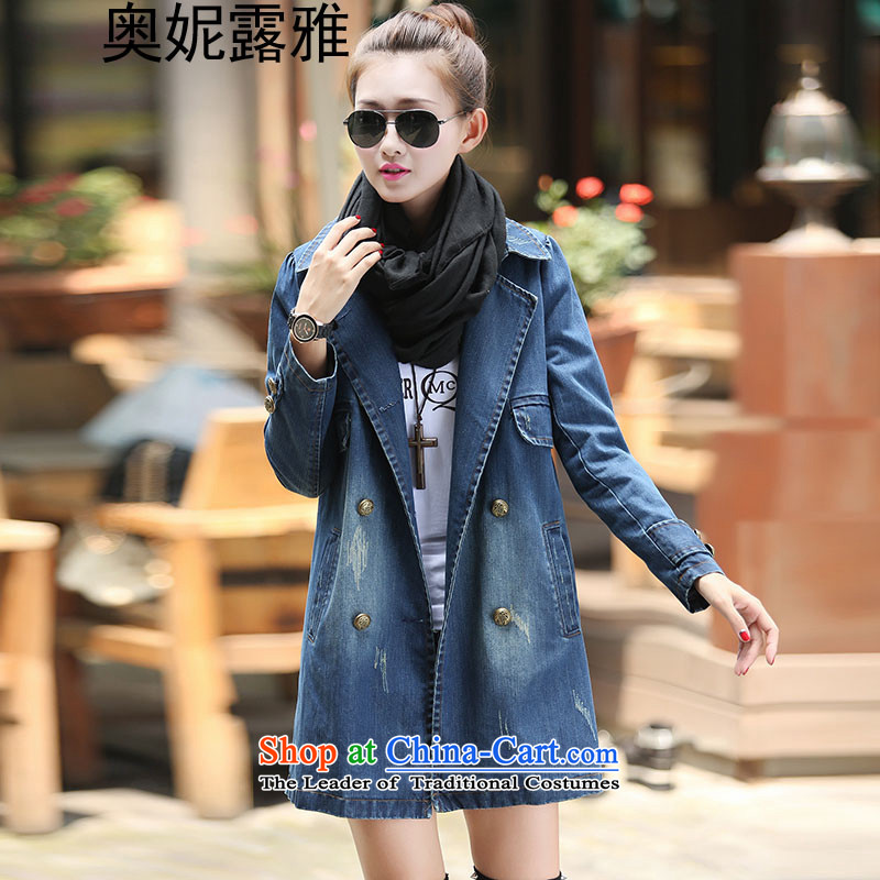 Mr. Ni terrace ya�15 autumn and winter new larger female cowboy jacket female� 8002爌hoto blue� XL