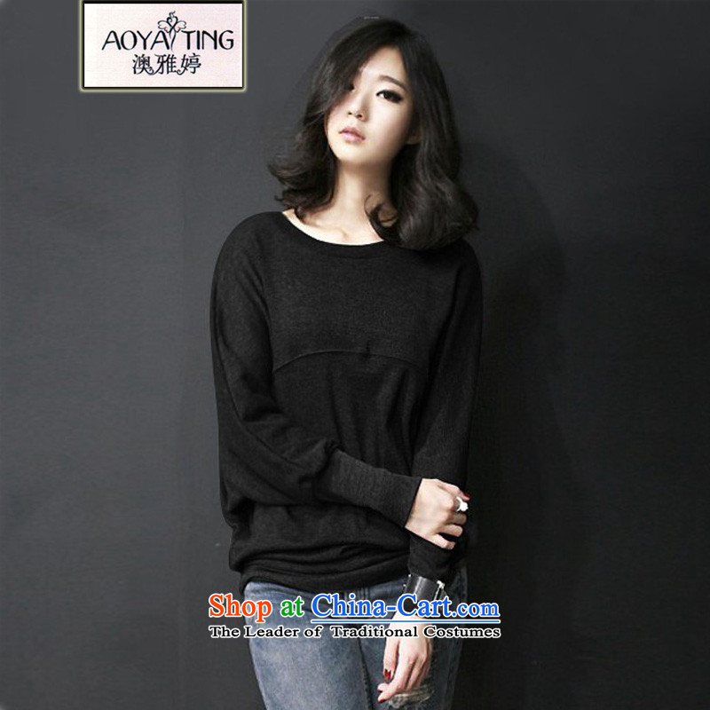 O Ya-ting?2015 autumn and winter new to xl larger Couture fashion wear loose coat thick mm long-sleeved shirt, Ms. bat 6904 T-shirt black?3XL?145-165 recommends that you Jin