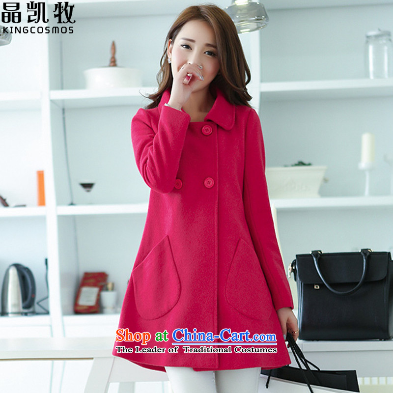 Jing Kai's autumn and winter coats new Korean gross? in the stylish long cardigan QWY0826 better red  L