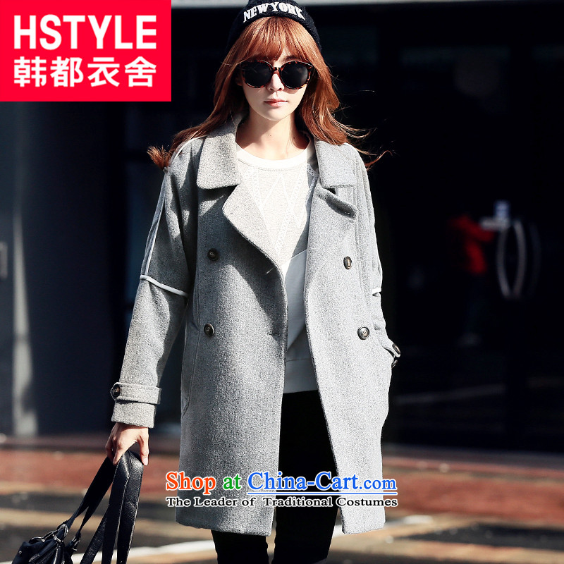 Korea has the Korean version of the Dag Hammarskjöld yi 2015 winter clothing new products with gray stylish in double-long straight hair? HO4560 jacket restaurant gray S