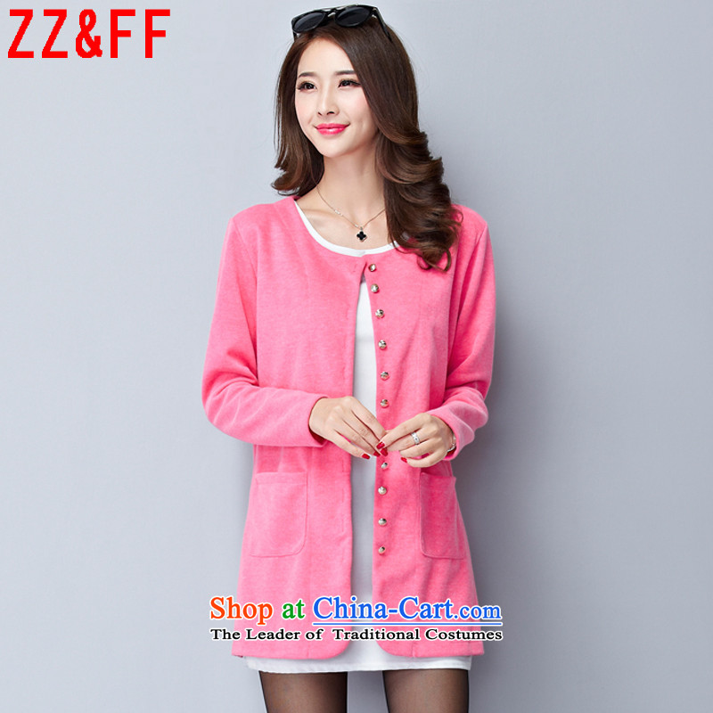 Install the latest Autumn 2015 Zz_ff_ larger women in the long graphics thin knitwear Sau San Cardigan girl ,8094,8000 Thursday pink XXL