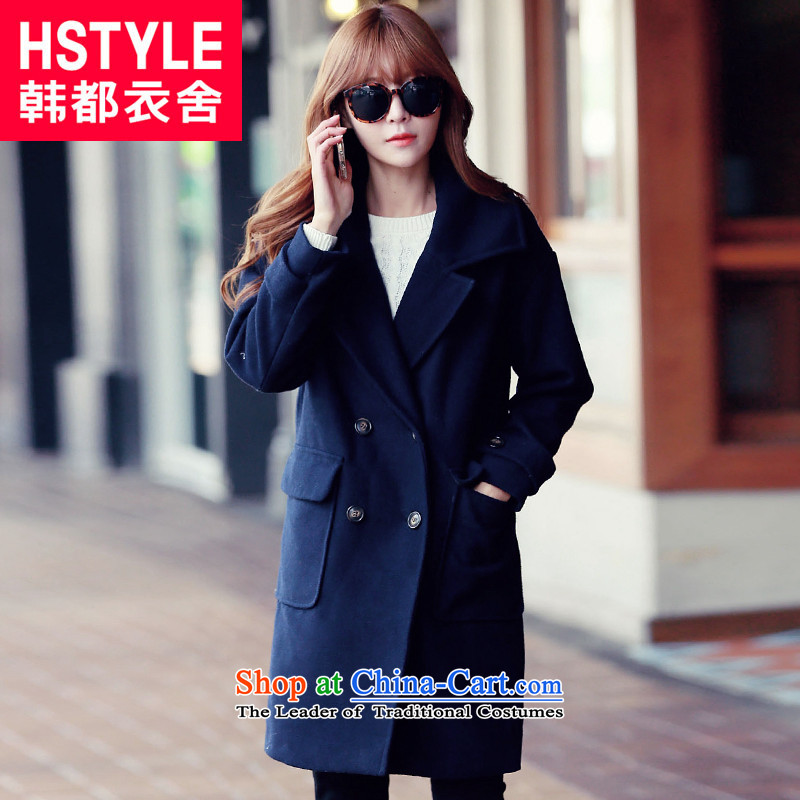 Korea has the Korean version of the Dag Hammarskjöld yi 2015 Autumn replacing new women's solid color, double-loose hair?2 blue jacket GY5006 L