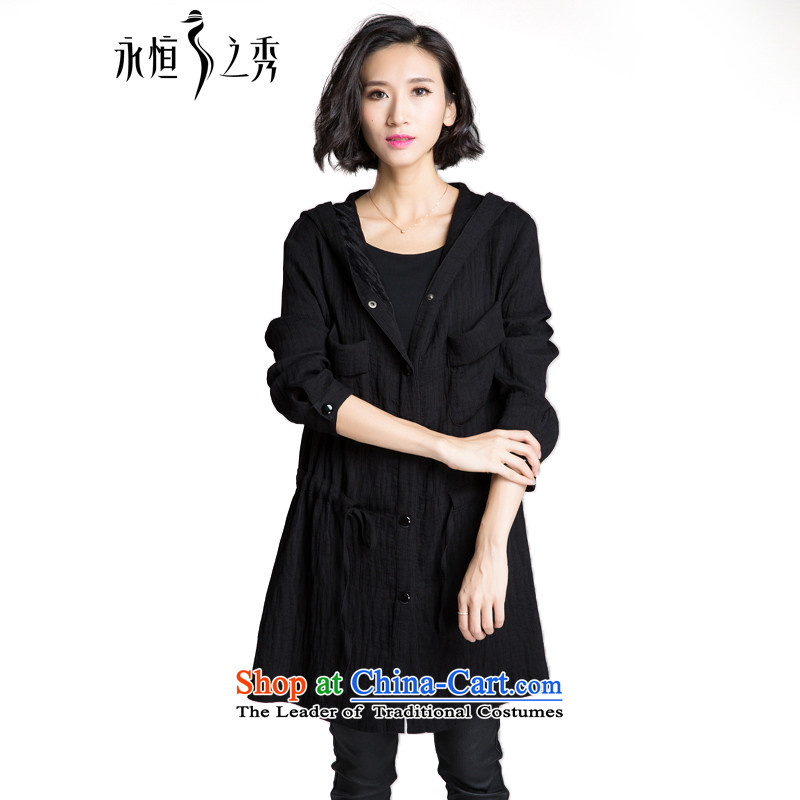 The Eternal Sau 2015 large female thick mm autumn new product video thin is a simple and classy jacket Black燲L