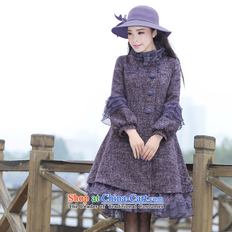 Fireworks ironing XW2015 akikiyo compartment women's original lace stitching temperament jacket Original Gross? coats Hewitt purple燲XL pre-sale 25 Days