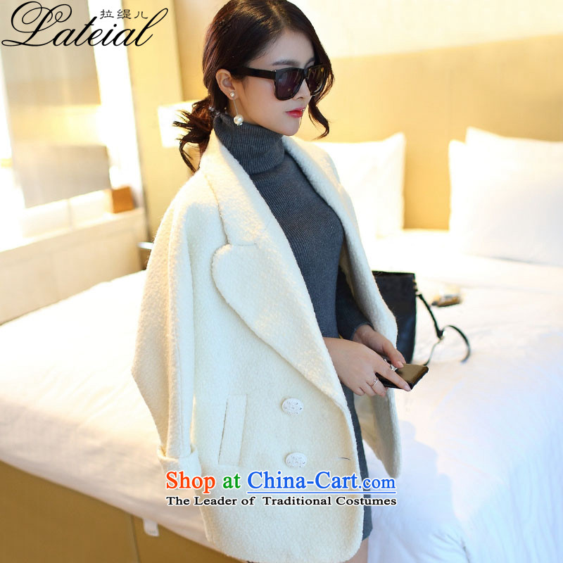 Pull the economy by 2015 women fall-New_ long a wool coat Korean Balangjie-jacket female QL8508 gross? m White L