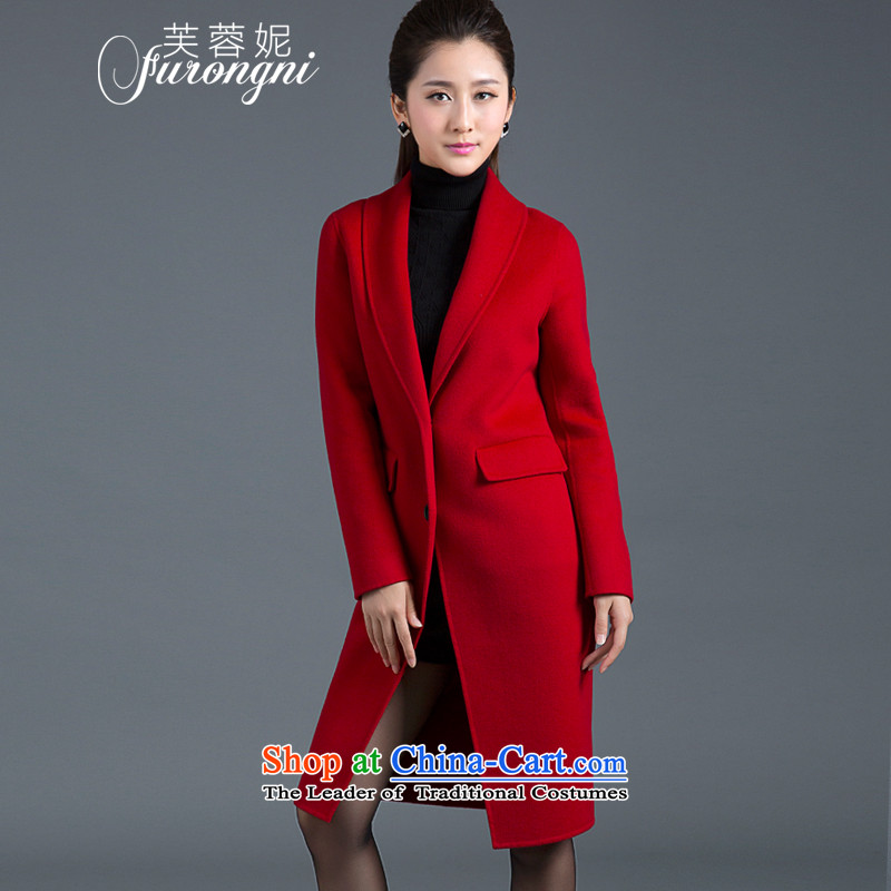 Hibiscus Connie 2015 autumn and winter new women's European and American high-end 2-sided gross girls coat? Long cashmere overcoat, wool coat D0310 Sau San?燬 Code Red