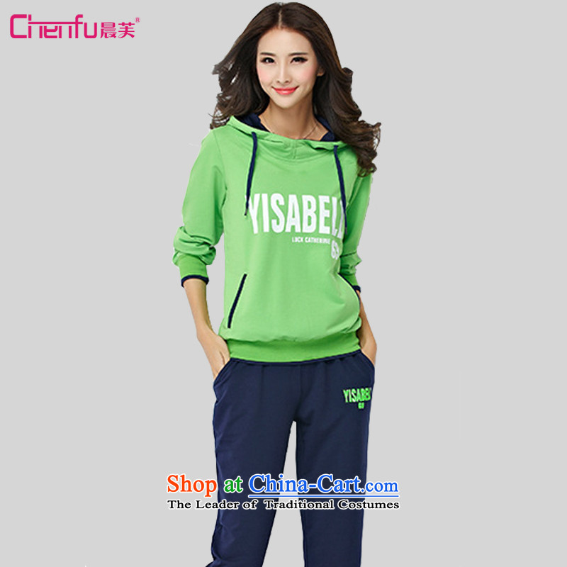 Morning to 2015 autumn and winter new to xl ladies casual sports wear cap sweater pants and two piece Fluorescent Green Blue�L_ knocked recommendations 150-165╟atties_