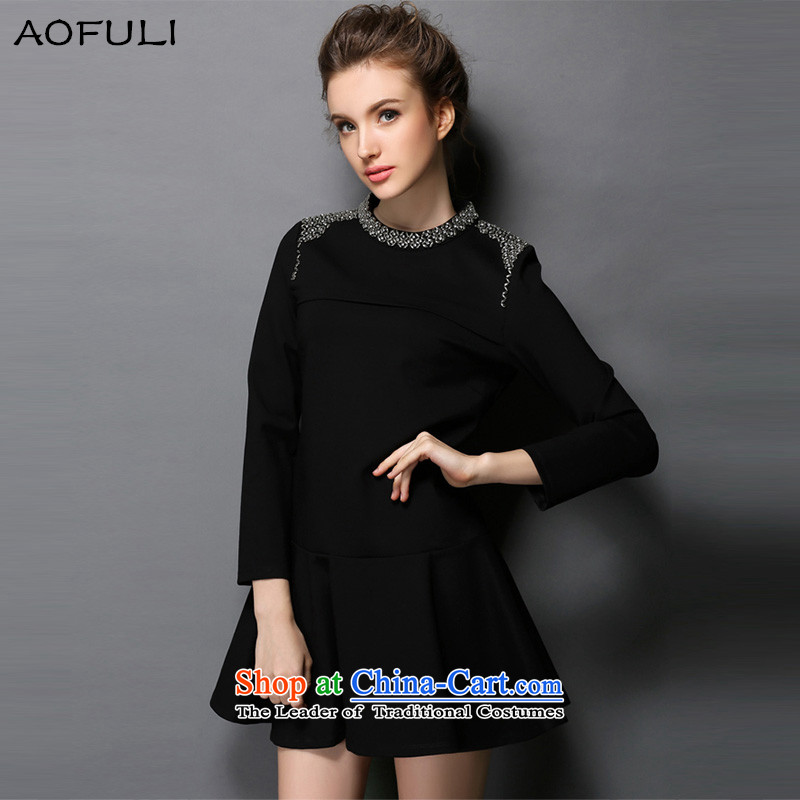 To achieve maximum number of women to increase the European autumn 2015 site new winter dresses long-sleeved western stylish black燲L