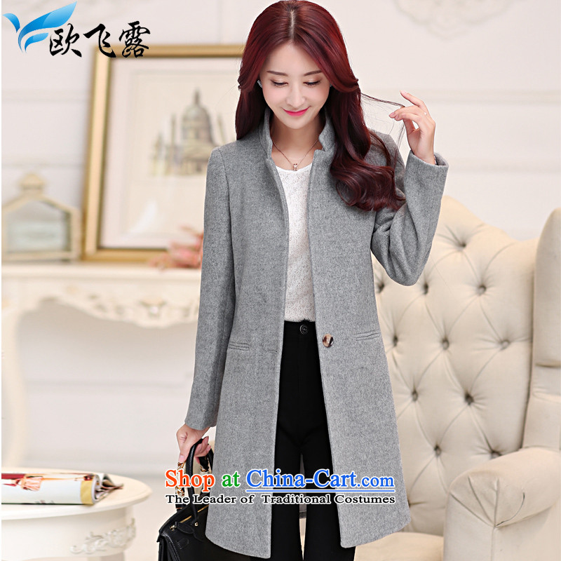 The OSCE overflew terrace 2015 Fall_Winter Collections new woolen coat female non-cashmere overcoat. Long stand collar Sau San Mao jacket single row deduction? coats female Gray L