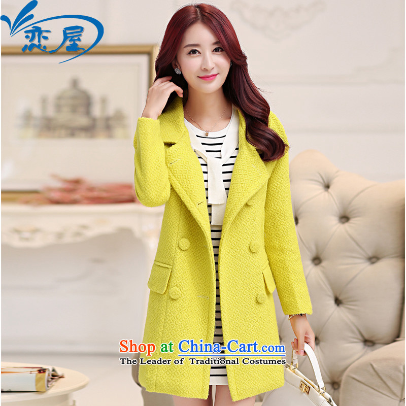 Land rental housing by 2015 Fall/Winter Collections new suit for woolen coat female non-cashmere overcoat small Heung-thick) long hair? lemon yellow jacket coat female L