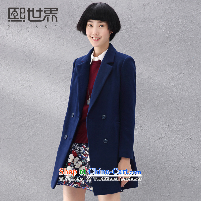 Hee-World 2015 new products in the autumn long commuting pure color jacket female 184LG006 gross? deep blue S
