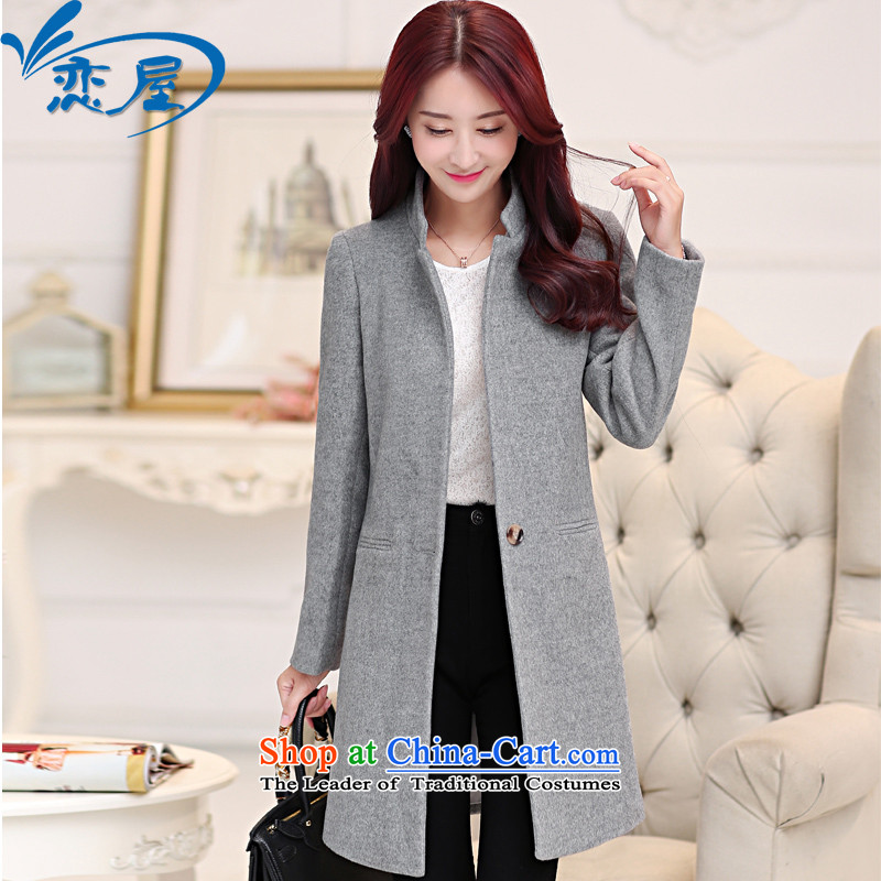 Land rental housing by 2015 Fall_Winter Collections new woolen coat female Korean version is smart casual Sau San single row detained thick cotton in the Long Hair Girl gray jacket coat? M