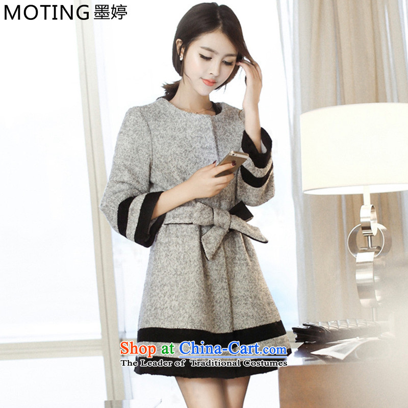 Moting The Ting 2015 Fall_Winter Collections new fall for women in female jacket coat? long thick hair? jacket Korean gray color graphics Sau San thin M