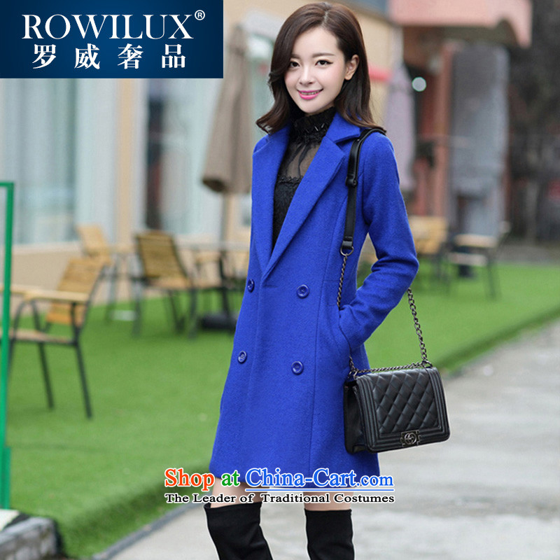 Gross coats women ROWILUX? 2015 winter new double-dong woolen coat cashmere overcoat so gross jacket female M Blue