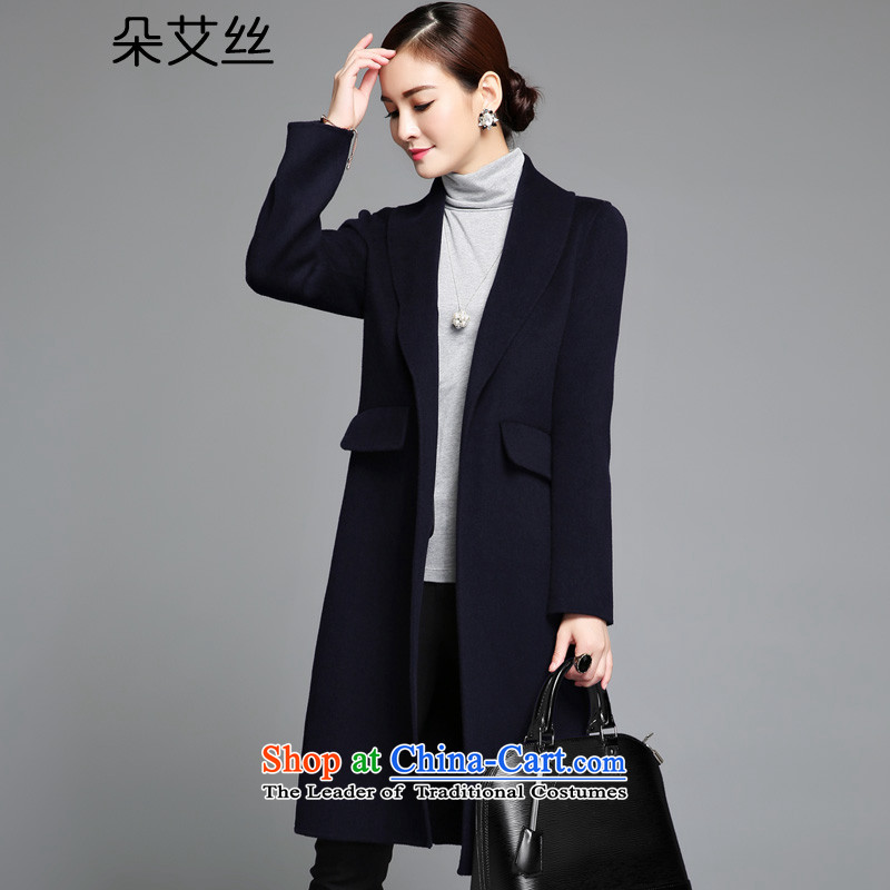 High-end of the population of a manual two-sided? woolen coat female 2015 Fall/Winter Collections new gross girls jacket? Long Wool Velvet Sau San a wool coat navyM