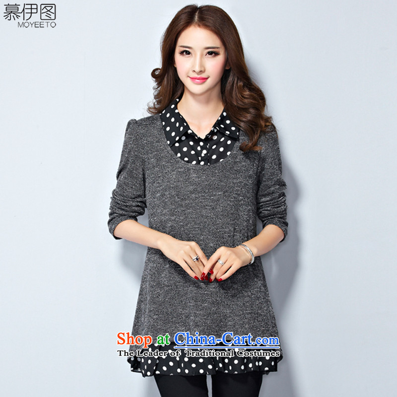 The Ituri large 2015 women fall to 200 Increase in the burden of Sau San video thin leave two shirt collar T-shirt shirt female gray XXXXL