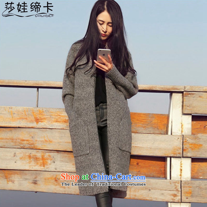 Elisabeth wa concluded card female large jacket to intensify the T-shirt, long-knitted Ms._ thick girls' Graphics thin, thick sister autumn replacing thick Tien female chubby woman with large gray code numbers are?100 to 180 catties can wear