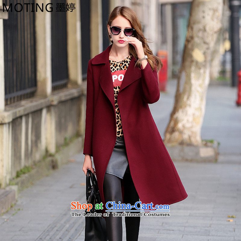 Moting The Ting 2015 autumn and winter new non-cashmere overcoat girl in long hand-made woolen high-end 2-sided female Korean? coats bay redL