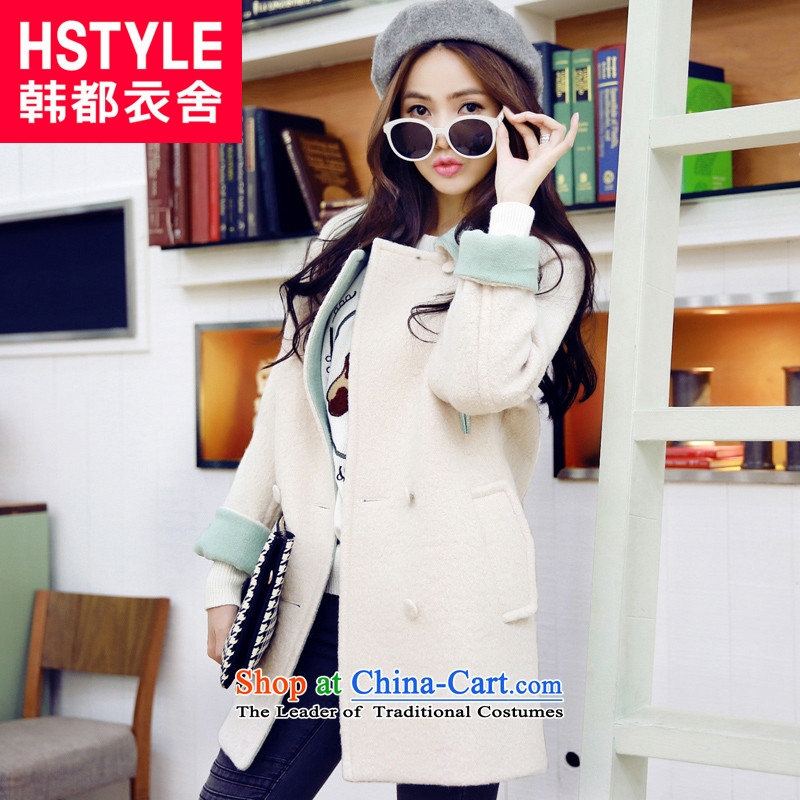 Korea has the Korean version of the Dag Hammarskjöld yi 2015 winter clothing new products with loose video thin stitching lapel in long hair NH5099 jacket restaurants? m White S