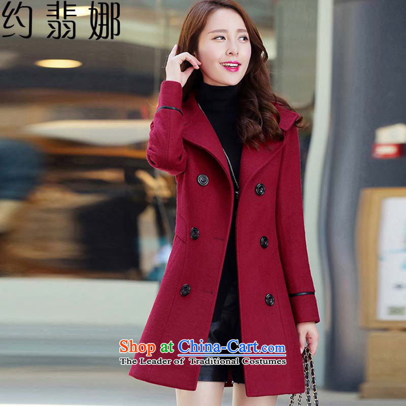 About the gross insult? 2015 Autumn female jacket for women Fall_Winter Collections new Korean long hair in Sau San?�89 , 8251 ,燱ine red cloak female燲XL