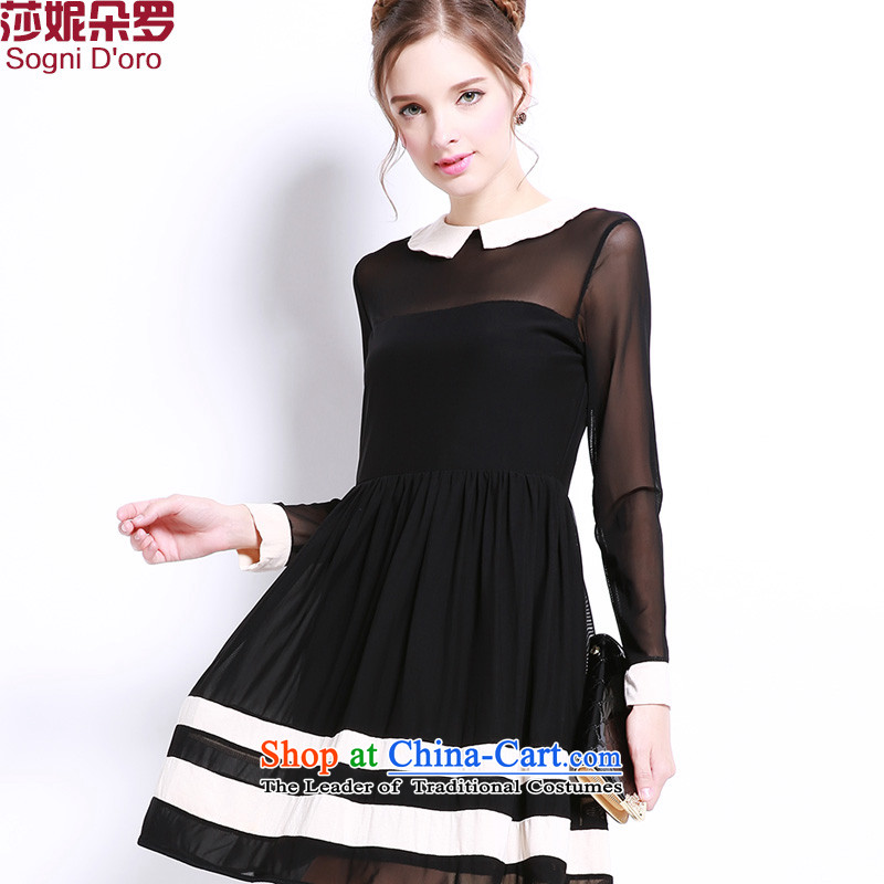 Shani Flower Lo 2015 sister to thick xl female fitting installation of new, doll fall for seven lace cuff dresses 132042XL Black