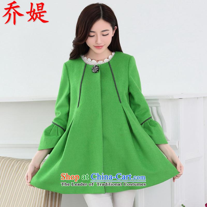 Joe customers new spring and autumn 2015 Women Korean sweet loose 9 to the leisure cuff wool coat girl in long?_ cloak A green jacketXXL