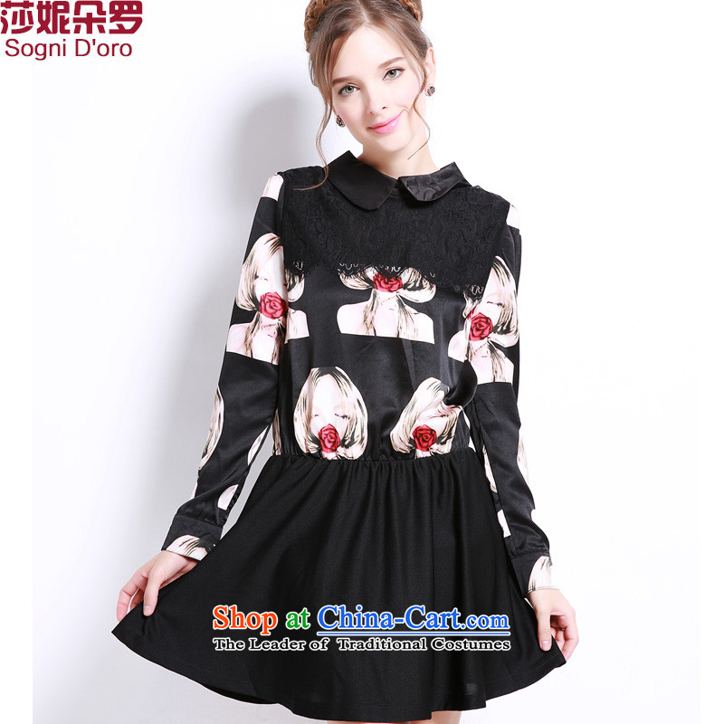 Shani flower of thick mm autumn, installation of new dresses聽2015 Korean version of large code thick mm long-sleeved loose video thin dresses 13207 Black聽4XL