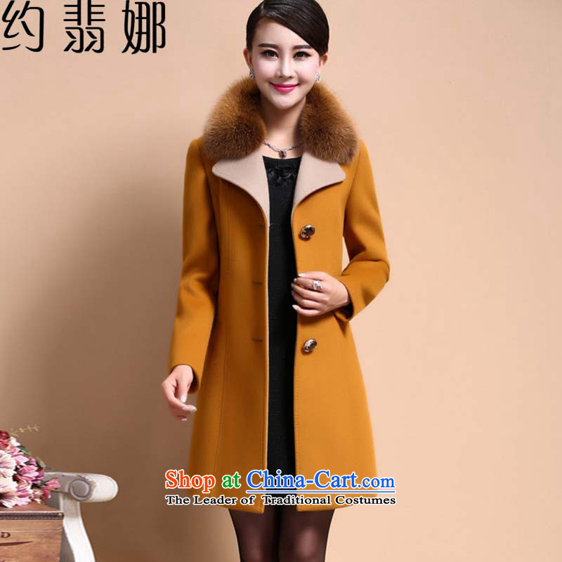 About the gross insult? 2015 new female jacket Fall_Winter Collections in long temperament a wool coat women's gross for _689.6 yellow jacket coat? XXXXL