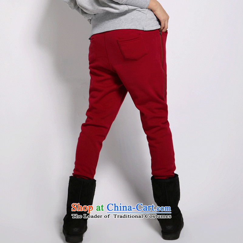 The officials of the fuseau larger ladies pants autumn and winter to increase the number of female casual pants thick mm thick wool pants plus Harun trousers 5XL wine red 180-200, the turbid fuseau shopping on the Internet has been pressed.