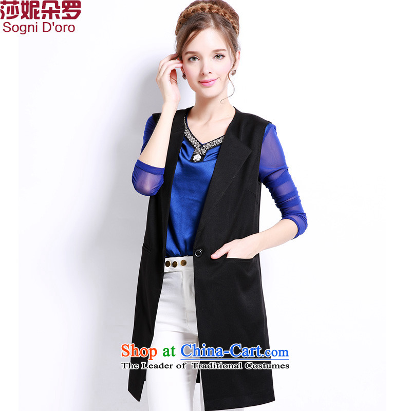 Luo Shani flower code female jackets to xl thick mm thick sister graphics load autumn thin sleeveless small cardigan thin black�L 13209_ Autumn Assemble Cardigan