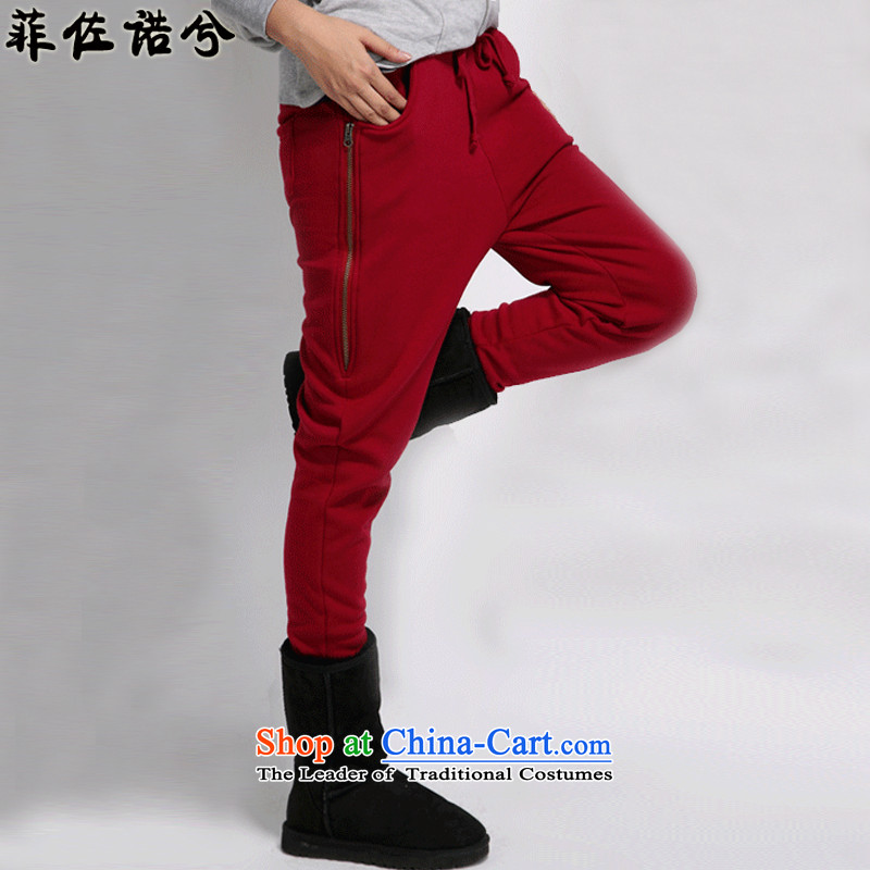 The officials of the fuseau larger ladies pants autumn and winter and casual pants zipper thick wool decorated to xl sport trousers Harun trousers wine red聽XL