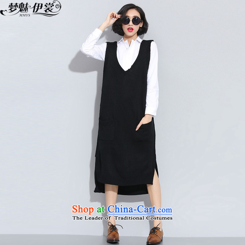 The staff of the Advisory Committee this autumn and winter graphics thin xl women in mm thick long V sleeveless knitting sweater vest suits skirts black vest will loose